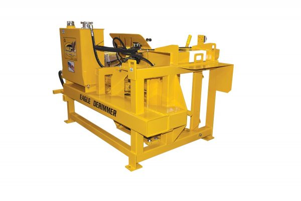 Eagle Derimmer rim crusher removes the rim from waste tires.