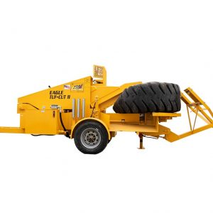 Eagle Tuf-Cut II tire cutter machine to shear tires into sections