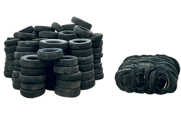 A pile of tires and the bale made from those compressed tires.