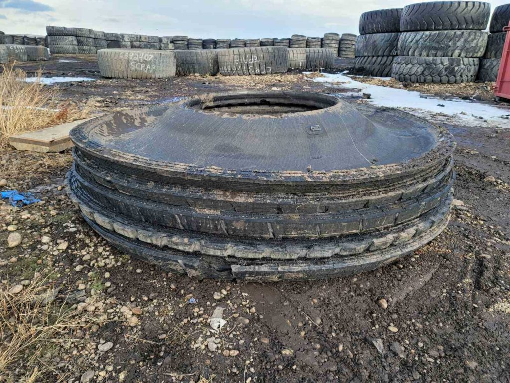 A stack of OTR Sidewalls removed from the tire.